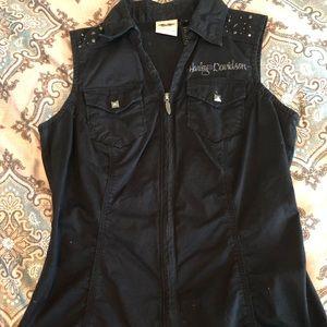 Harley-Davidson full zip front sleeveless top